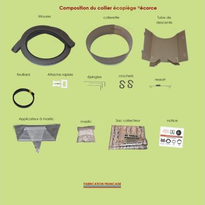 Pack collier Écopiège® Écorce + nichoir toit inox + piège à phéromone + phéromone
