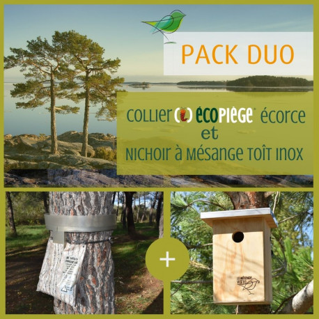 Pack collier Écopiège® Écorce + nichoir toit inox, Lutte contre la processionnaire du pin